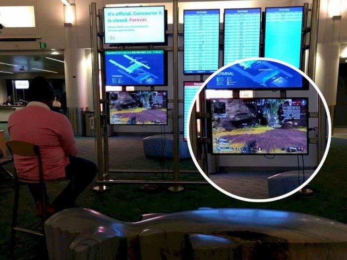 Duh, Pria Ini Bajak TV di Bandara untuk Main Game Apex Legends!