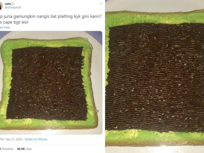 Viral! Cewek Ini Susun Rapi Meises di Atas Roti Tawar, Warganet: Gabut Banget