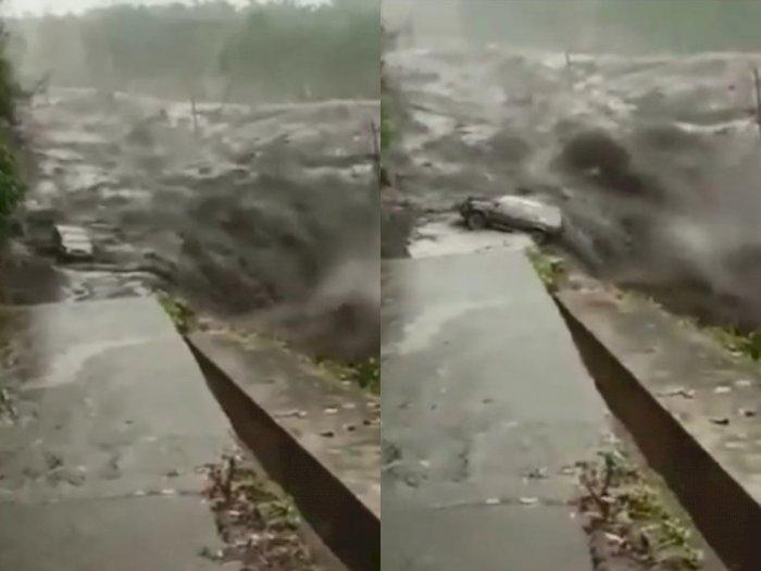 Mengerikan, Video Detik-detik Kendaraan Roda 4 Tergulung Arus Banjir Lahar Dingin Semeru