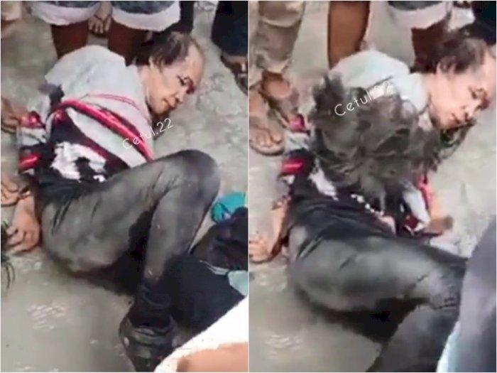Duh! Wig Pria Ini Lepas saat Dikeroyok Warga, Nyamar Jadi Wanita Culik Anak-anak di Binjai