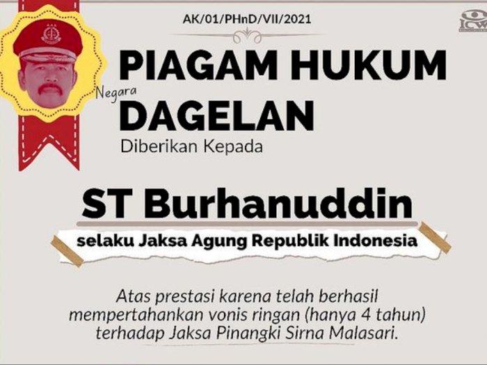 Piagam Hukum Dagelan untuk Jaksa Agung, Pertahankan Vonis Ringan Jaksa Pinangki: Selamat!