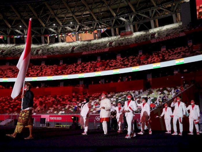 Kontingen Indonesia Tampil Gagah Saat Upacara Pembukaan Olimpiade Tokyo 2020