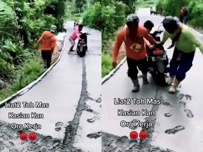 Duh! Pemotor Ini Terobos Jalan yang Baru Dicor, Bikin Pekerja Ngamuk: Bisa Baca Rambu Gak?