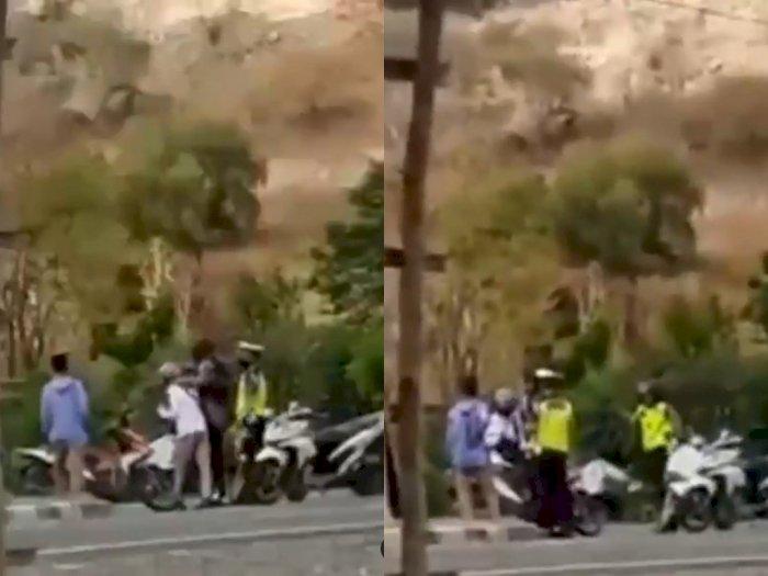 Oknum Polantas Tendang Pengendara Motor yang Terjaring Razia di Bima NTB, Videonya Viral