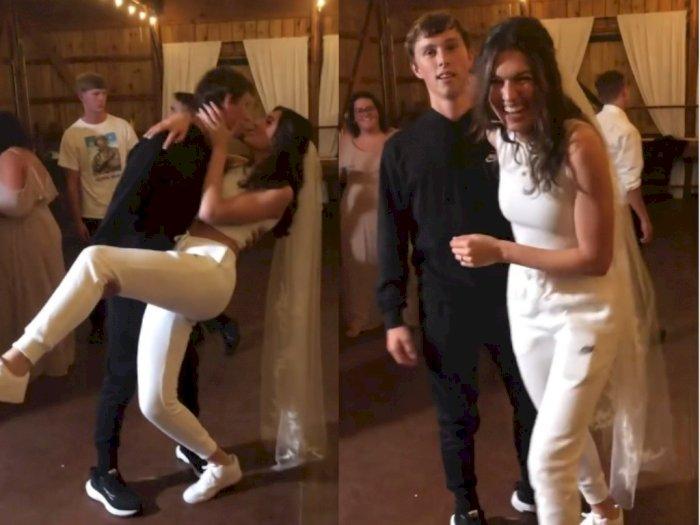 Viral, Pasangan Ini Pilih Pakai Baju Olahraga untuk Resepsi Pernikahan