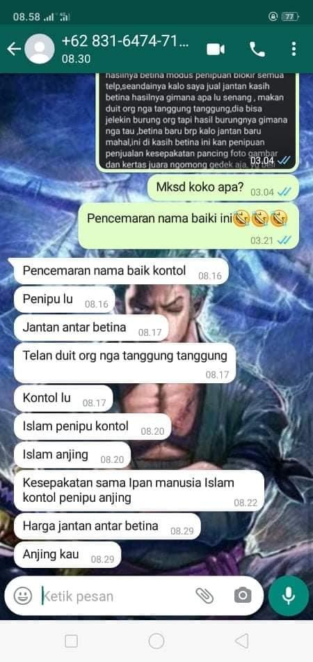 Tangkapan layar WW di WhatsApp berisi ujaran kebencian.