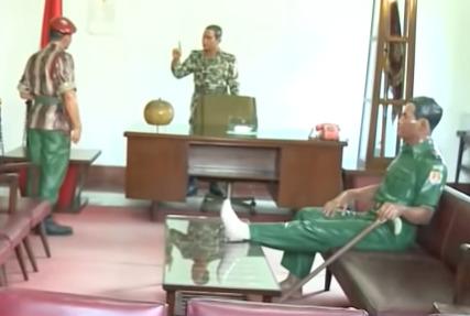 Patung Soehato (tengah), Sarwo Ehie (kiri), dan AH Nasution (kanan) di Museum Kostrad. (YouTube)